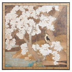 Japanese Edo Period Kano School Sakura Tree Screen