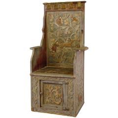 Carved Wood Chair in Gothic Style