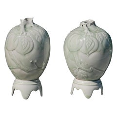 Pair of Celadon Vases on Pedestals by Cliff Lee