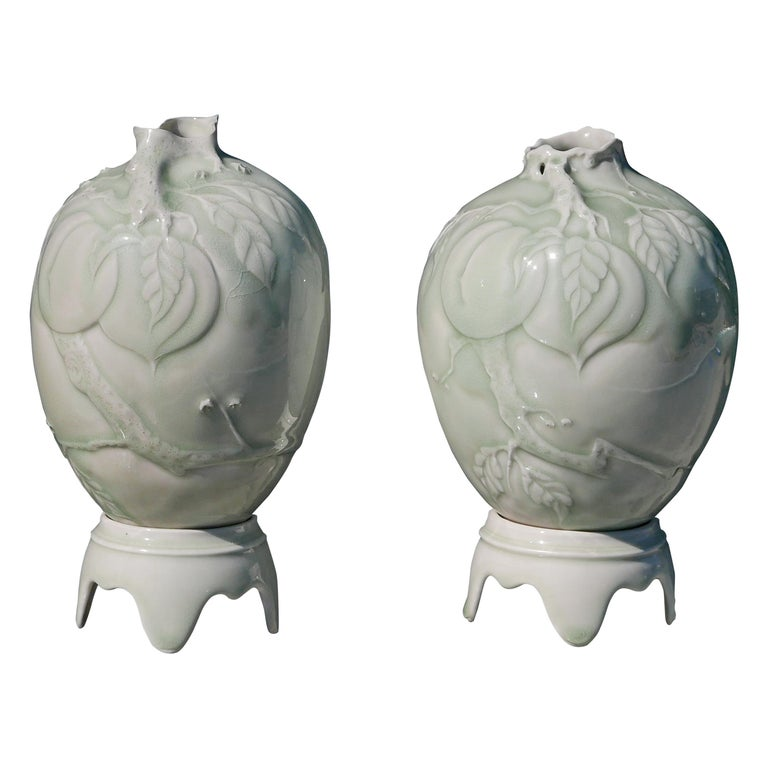 Pair of Celadon Vases on Pedestals by Cliff Lee For Sale