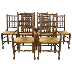Antique Dining Chairs, Country Rush Chairs, 6+2 Chairs, Scotland 1900, B1252