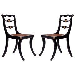 19th Century Regency Pair of Black Klismos Chairs, circa 1810