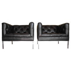 Modern Matching Black Leather Tufted Cube Chairs on Stainless Steel Bases