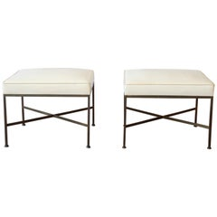 Paul McCobb for Directional X-Base Brass and Upholstered Stools or Benches, Pair