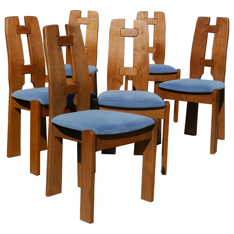 Set of Six Dutch Modernist Dining Chairs in Ash For Sale
