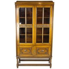 Antique Oak Bookcase, Four Door Bookcase, Carved Oak, Scotland, 1910, B1284