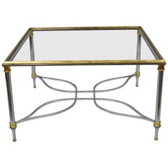Maison Jansen Style Chrome Steel and Brass Square Coffee Table Base