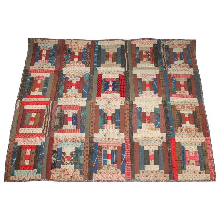 Antique Crib Quilt, Long Cabin Pattern