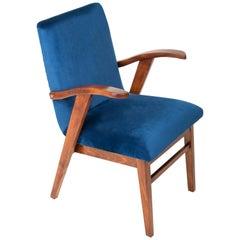 Vintage Navy Blue Velvet Armchair, 1960s