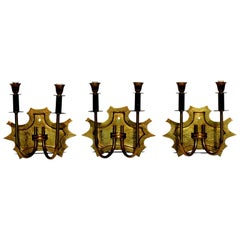 1940s Italian Design Bronze Wall Lamp Sconce, Set of 3