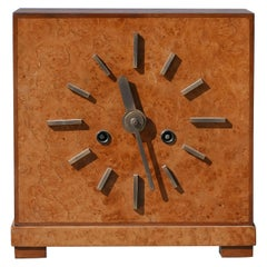 Bauhaus Burl and Brass Mantle Clock, circa 1930s