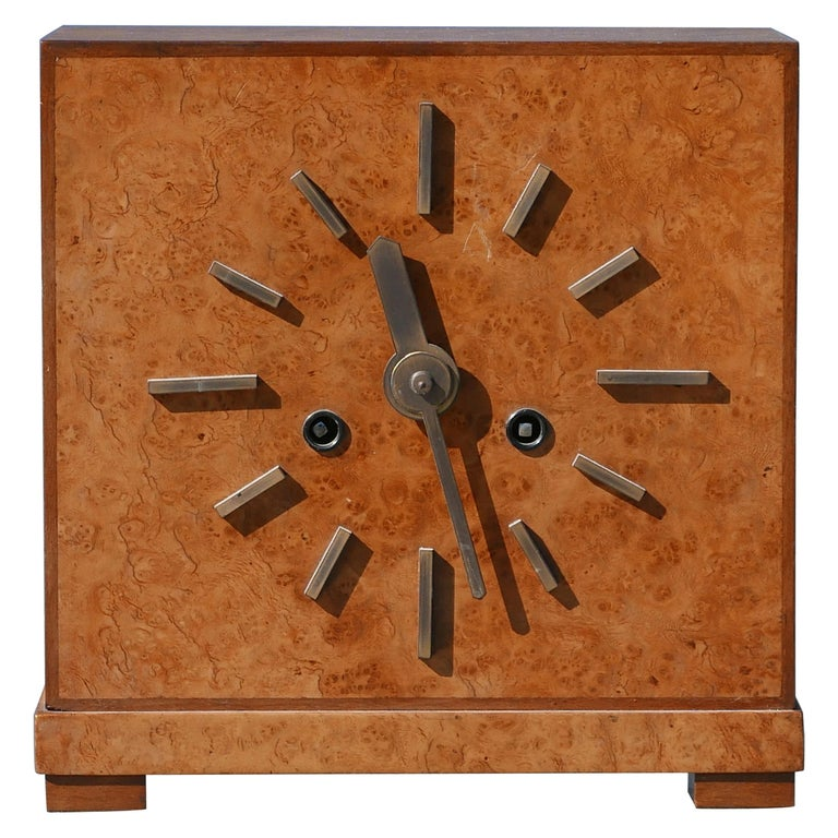 Bauhaus Burl and Brass Mantle Clock, circa 1930s For Sale