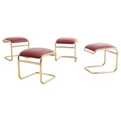 Set of Four Anton Lorenz Cantilever Stools by Thonet