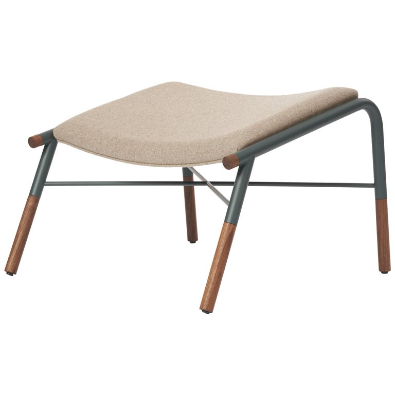 49N Lounge Chair Ottoman, Melton Wool and Eco-Friendly Powder Coated Steel Frame