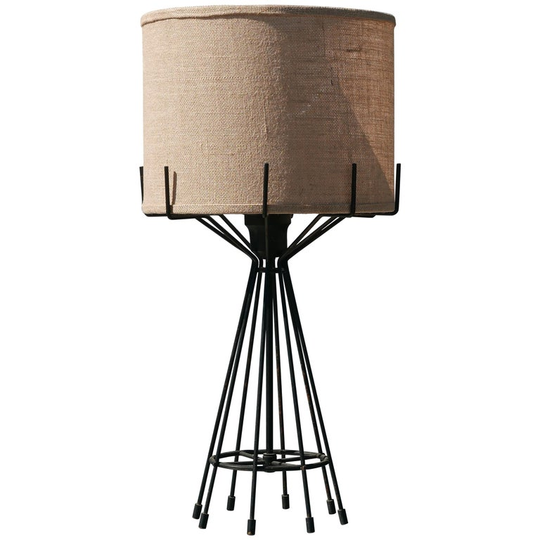 Machined Steel and Brass Midcentury Lamp For Sale