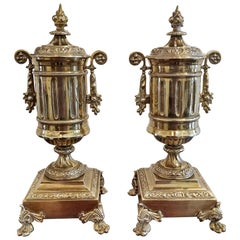 Pair of 19th Century French Neoclassical Style Brass Garnitures