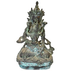Antique Bronze Tibetan Statue Vajrasattva Yab Yum