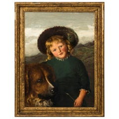 """""""Young Girl With Her Dog"""" by Artist Eleanor S. Woods Dated 1884"""