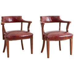 Pair of English Mahogany and Leather Captains Chairs