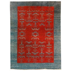 Vintage 20th Century Gaba Blue and Red Rug