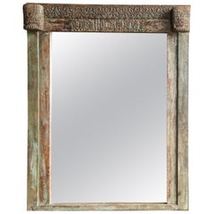 Classic Mirror Made Out of Early 19th Century Carved Teak Wood Window Frame