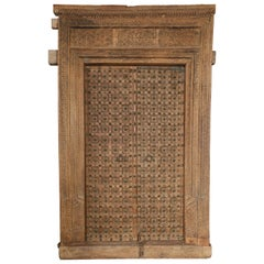 19th Century Metal Studded and Precisely Carved Ageless Fortress Entry Door