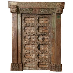 210 Years Old Heavily Fortified Solid Teak Wood Door from a Village Temple