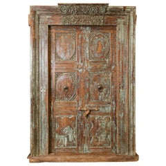 1850s Solid Teak Wood Elegant Entry Door from a Settlers Home in a Coastal Town