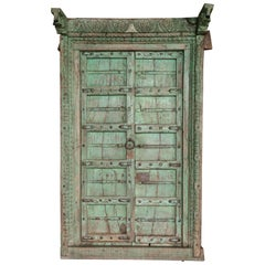 1810s Solid Teak Wood Painted Interior Door from a Prominent Farm House in Goa