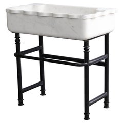 Midcentury Hand-Carved Marble Sink on Hand-Forged Iron Stand