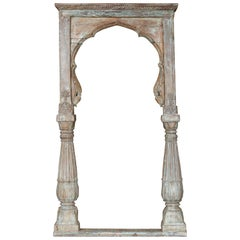Mid-19th Century Solid Teak Wood Carved Arch Window Frame from a Castle
