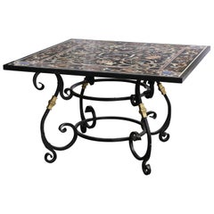 Fine Pietra Dura Square Black Marble Table with Intricate Inlay Work