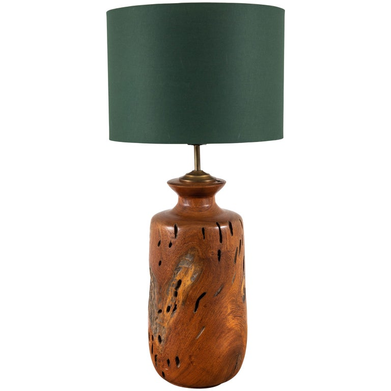 Solid Turned Walnut Wood Table Lamp For Sale