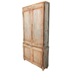 19th Century Vintage Swedish Gustavian Two-Piece Cabinet