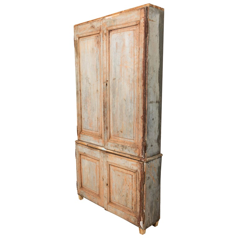 19th Century Vintage Swedish Gustavian Two-Piece Cabinet For Sale