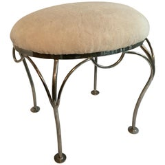 Nickel-Plated Vanity Stool with Shearling Seat