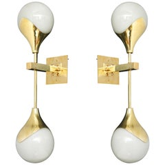 Pair of Mid-Century Modern Style Murano Glass and Brass Wall Sconces