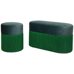 Pair of Pouf Pill Small and Large Emerald Green in Velvet Upholstery and Fringes