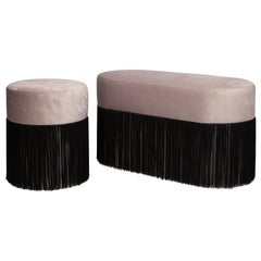 Pair of Pouf Pill Small and Large Warm Grey in Velvet Upholstery and Fringes