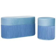 Pair of Pouf Pill Small and Large Blue in Velvet Upholstery and Fringes