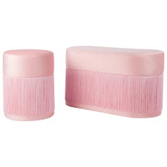 Pair of Pouf Pill Small and Large Pink in Velvet Upholstery and Fringes