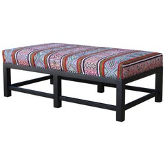 Ottoman in a Upholstered in Vintage Textile