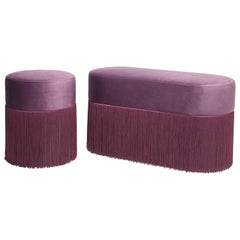 Pair of Pouf Pill Small and Large Purple in Velvet Upholstery and Fringes