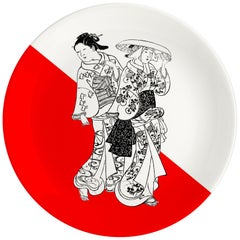 Japanese Women Porcelain Dinner Plate by Plus Lab, Made in Italy