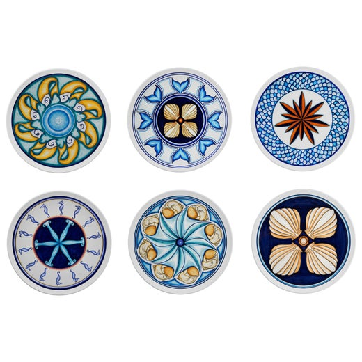 Set of 6 Sicilian Clay Hand-Painted Colapesce Dinner Plates