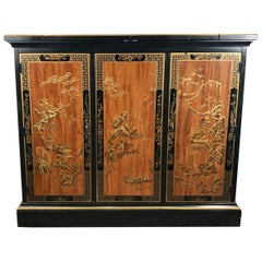 Asian Modern Rolling  Dry Bar Storage Cabinet by Drexel