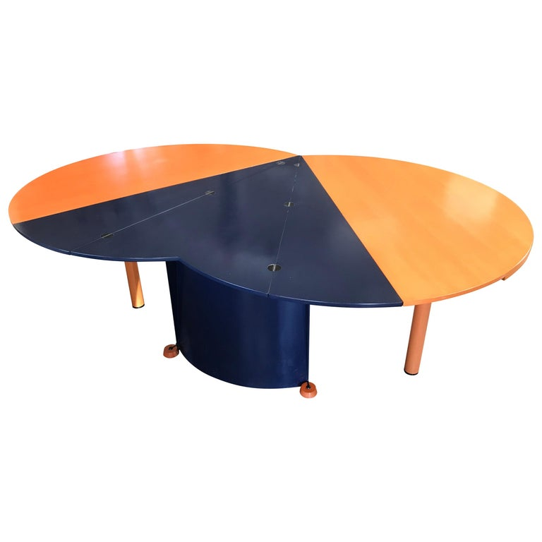 Modern Orange and Blue Dining Table by Castelijn For Sale