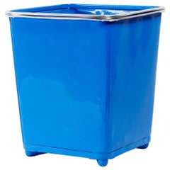 Machine Age Steel Trash Can with Aluminium Trim, Refinished in Blue