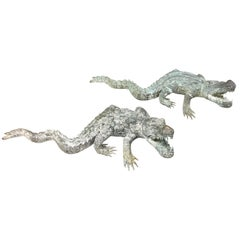 Two Bronze Sculptures of Alligators