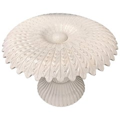 White Lacquered Sculptural Sunflower Table, in the Manner of Pedro Friedeberg